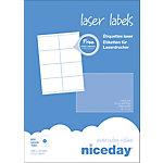 Étiquettes d'adresses Niceday Blanc 72 x 105 mm 100 Feuilles de 8 Étiquettes