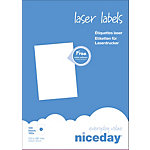 Étiquettes Niceday Blanc 100 étiquettes 100 feuilles de 1 étiquette