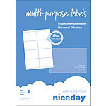 Étiquettes multifonctions Niceday 3321126 Blanc 800 étiquettes 100 feuilles de 8 étiquettes
