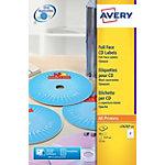 Étiquettes CD et DVD autocopiantes AVERY Zweckform L7676 A4 Blanc 117 mm 25 Feuilles de 2 Étiquettes