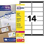 Étiquettes d'adresses Avery L7163 250 Blanc 99,1 x 38,1 mm 250 Feuilles de 14 Étiquettes