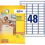 Étiquettes repositionnables Avery Stick & Lift Blanc 45,7 x 21,2 mm 48 Feuilles de 25 Étiquettes