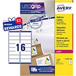 Étiquettes d'adresses Avery L7162 100 A4 Blanc 99,1 x 33,9 mm 100 Feuilles de 16 Étiquettes