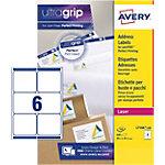 Étiquettes d'adresses AVERY Zweckform L7166 100 A4 Blanc 99,1 x 93,1 mm 100 Feuilles de 6 Étiquettes