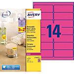 Étiquettes Avery L7363P 25 Rose fluo 99,1 x 38,1 mm 14 Feuilles de 25 Étiquettes