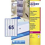 Étiquettes d'adresses Avery L7551 25 A4 Transparent 38,1 x 21,2 mm 25 Feuilles de 65 Étiquettes