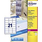 Étiquettes d'adresses Avery L7560 25 A4 Transparent 63,5 x 38,1 mm 25 Feuilles de 21 Étiquettes
