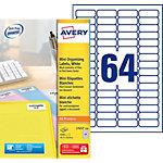 Étiquettes Avery L7652 100 Blanc 16,9 x 45,7 mm 100 Feuilles de 64 Étiquettes