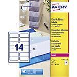 Étiquettes d'adresses Avery L7563 25 Transparent 99,1 x 38,1 mm 25 Feuilles de 14 Étiquettes