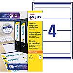 Étiquettes pour classeur AVERY Zweckform A4 80 mm Blanc 25 Feuilles de 4 Étiquettes
