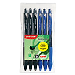 Stylo bille rétractable uni ball Laknock 0.7 mm Assortiment   6 Unités