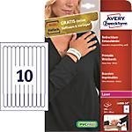 Braccialetti stampabili Avery Bianco 10 fogli da 10 etichette