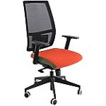 Seduta semidirezionale ergonomica girevole UNISIT Melania MAA Tessuto rosso, Rete nera