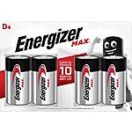 Pile alcaline Energizer Max D, 4 unità