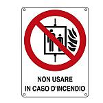 Cartello segnalatore 11,5x16 cm non usare in caso d'incendio alluminio