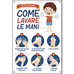 Etichetta Istruzioni come lavare le mani per bambino Cartelli Segnalatori Pellicola autoadesiva attacca e stacca
