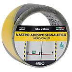 Nastro segnaletico FABO 50 mm x 50 m nero, giallo
