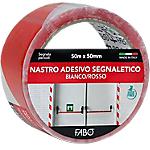 Nastro segnaletico FABO 50 mm x 50 m bianco, rosso