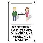 Cartello segnalatore Mantenere la distanza di 1m tra una persona e l'altra 20 x 30 cm