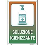 Cartello segnalatore soluzione igienizzante 20 x 30 cm