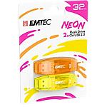Confezione 2 chiavette USB 2.0 EMTEC 32GB ECMMD32GC410P2NEO giallo, arancione neon