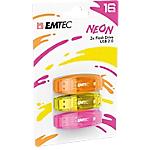 Confezione 3 chiavette USB 2.0 EMTEC 16GB ECMMD16GC410P3NEO giallo, arancione, rosa neon