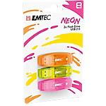 Confezione 3 chiavette USB 2.0 EMTEC 8GB ECMMD8GC410P3NEO giallo, arancione, rosa neon