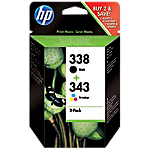 Cartuccia inchiostro HP originale 338 + 343 nero & 3 colori sd449ee 2 unità