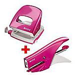 Kit Cucitrice + Perforatrice Leitz 5547 + 5008 Rosa 30 foglio 2 fori