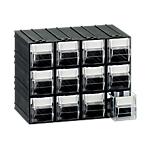 Cassettiera componibile Mobil Plastic 12 cassetti polistirene 22,5 x 13,3 x 16,9 cm nero trasparente