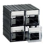 Cassettiera componibile Mobil Plastic 4 cassetti polistirene 22,5 x 22,5 x 22,5 cm nero trasparente