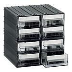 Cassettiera componibile Mobil Plastic 8 cassetti polistirene 571,5 x 571,5 x 571,5 cm nero trasparente