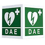 Cartello per defibrillatore bifacciale PVS Alluminio 34 x 36 cm
