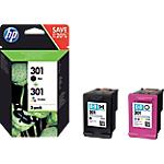 Cartuccia inchiostro HP originale 301 nero & 3 colori N9J72AE 2 unità