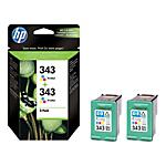 Cartuccia inchiostro HP originale 343 + 343 3 colori cb332ee 2 unità