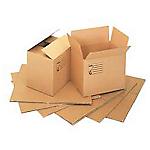 Scatole di cartone, tubi postali e carta da pacco