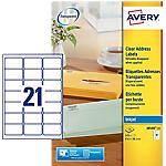 Etichette per stampanti AVERY Zweckform Trasparente 525 etichette 25 Fogli