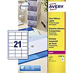 Etichette per stampanti laser AVERY Zweckform QuickPEEL Trasparente 525 etichette 25 Fogli