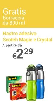 Borraccia da 800 ml Gratis Nastro adesivo Scotch Magic e Crystal