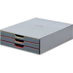 DURABLE Schubladenbox VariColor 3 DIN A4 Grau 24,7 x 35,6 x 9,5 cm 7603-27