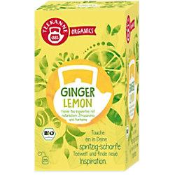 TEEKANNE Feiner Bio-Ingwertee, natürliches Zitrusaroma, Kurkuma Tee 20 Stück à 1.8 g 7406
