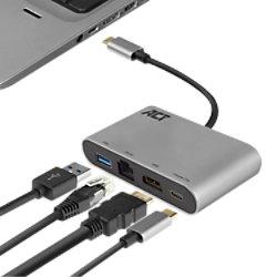 Act AC7040 1 x USB C Stecker auf 1 x HDMI weiblich, 1 x USB C weiblich, 1 x USB A, 1 x Ethernet Multiport Dock 0,15 m Schwarz, Grau