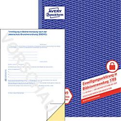 AVERY Zweckform 1765 Formular Erklärung Zustimmung zur Bildnutzung DIN A4 60 g/m² 21 x 29,7 cm Weiß, Gelb