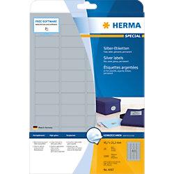 HERMA Silberne Folienetiketten 4097 Rechteckig DIN A4 45,7 x 21,2 mm 25 Blatt à 48 Etiketten