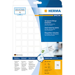 HERMA Wetterfeste Etiketten 8339 DIN A4 Weiß Quadratisch 24 x 24 mm 25 Blatt à 70 Etiketten