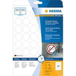 HERMA Wiederablösbare Etiketten 4571 Weiß Ø30 mm 20 Blatt à 48 Etiketten