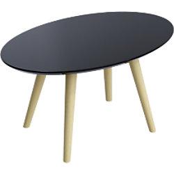 Paperflow Ovaler Tisch Schwarze Tischplatte Buche Rahmen 4 Beine Scandi 650 x 400 x 350 mm TBS65.23.01