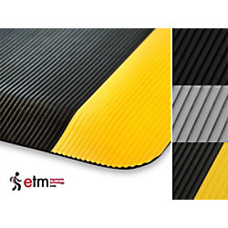 etm Arbeitsmatte Heavy-Duty Ripp PVC, Vinyl Schwarz 900 x 1500 mm fd-2069