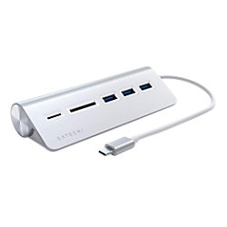 Satechi ST-TCHCRS USB-C Stecker auf 3 x USB-A, MicroSD-Kartenleser, SD-Kartenleser USB-Hub und Kartenleser 5,38 Zoll Silber