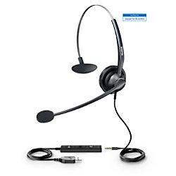 Yealink UH 33 Headset Verkabelt Kopfbügel Noise Cancelling Schwarz mit Mikrofon USB UH33